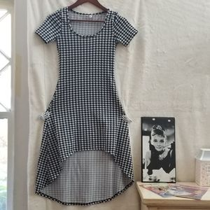 Houndstooth high low dress